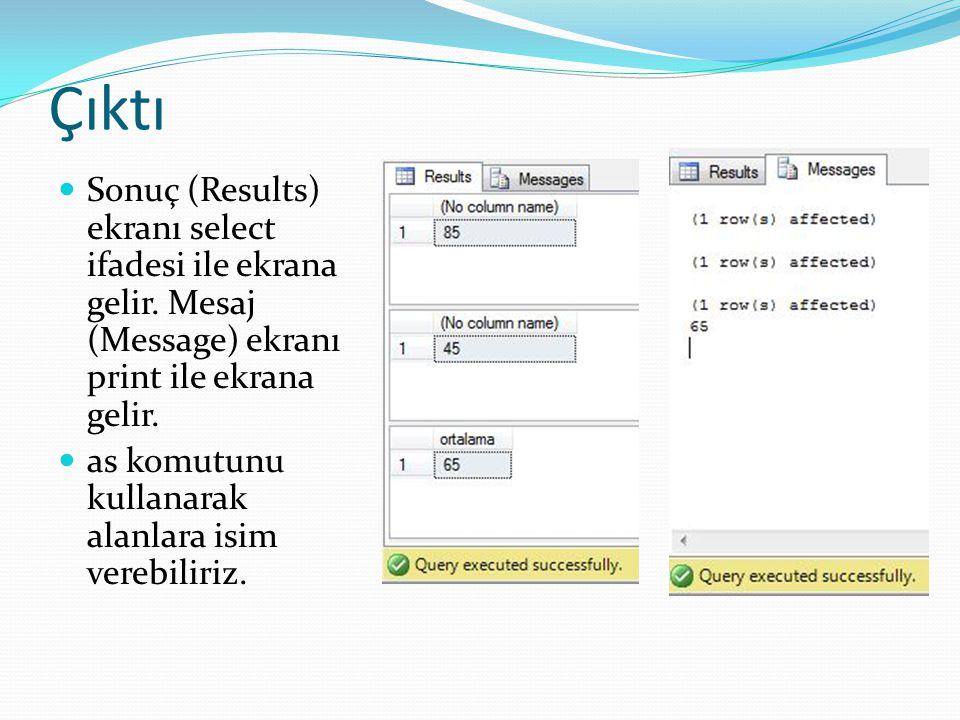 Çıktı Sonuç (Results) ekranı select ifadesi ile ekrana gelir. Mesaj (Message) ekranı print ile ekrana gelir.