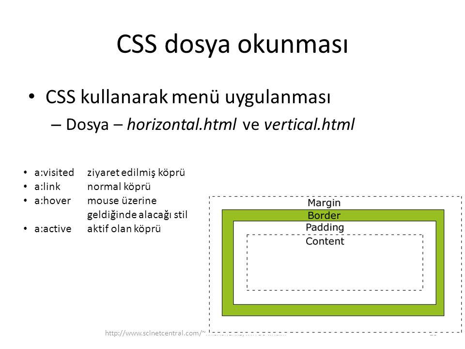 CSS dosya okunması CSS kullanarak menü uygulanması