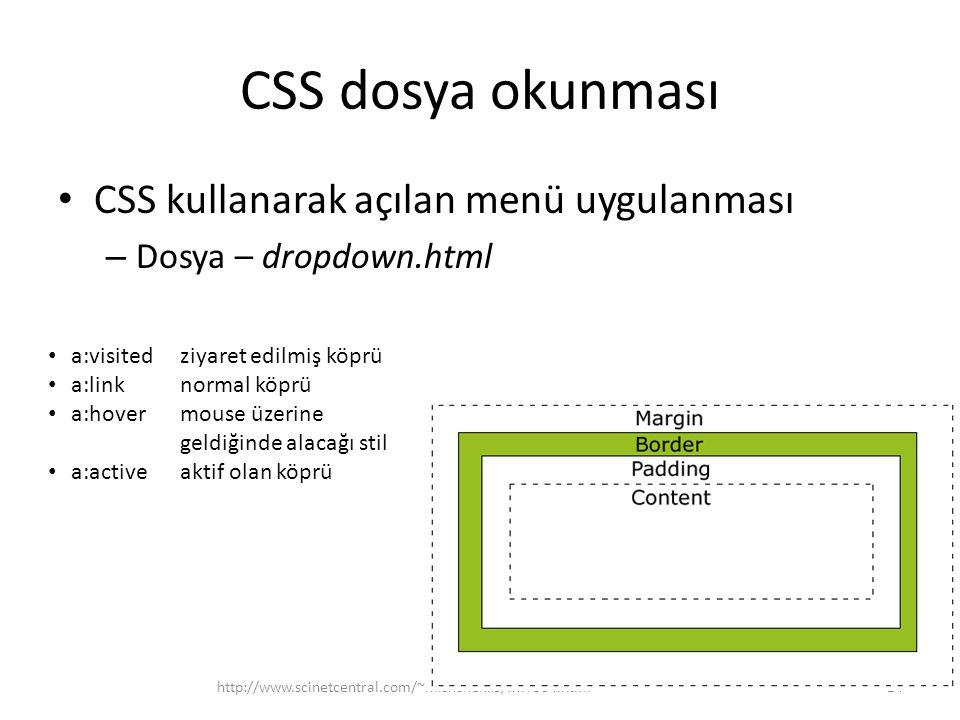 CSS dosya okunması CSS kullanarak açılan menü uygulanması