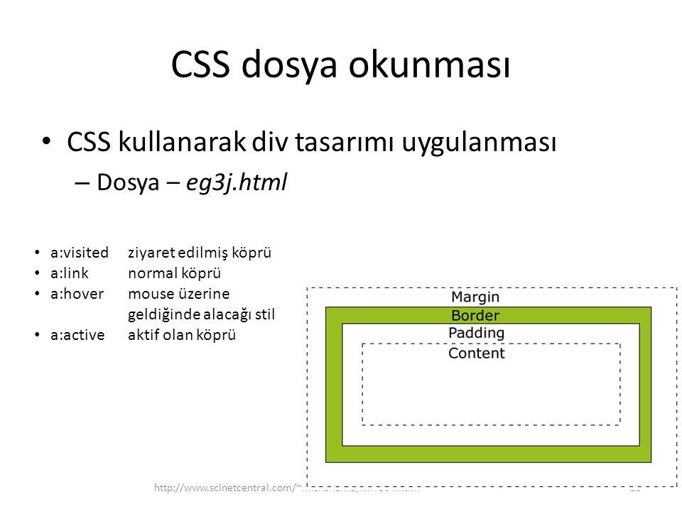 CSS dosya okunması CSS kullanarak div tasarımı uygulanması