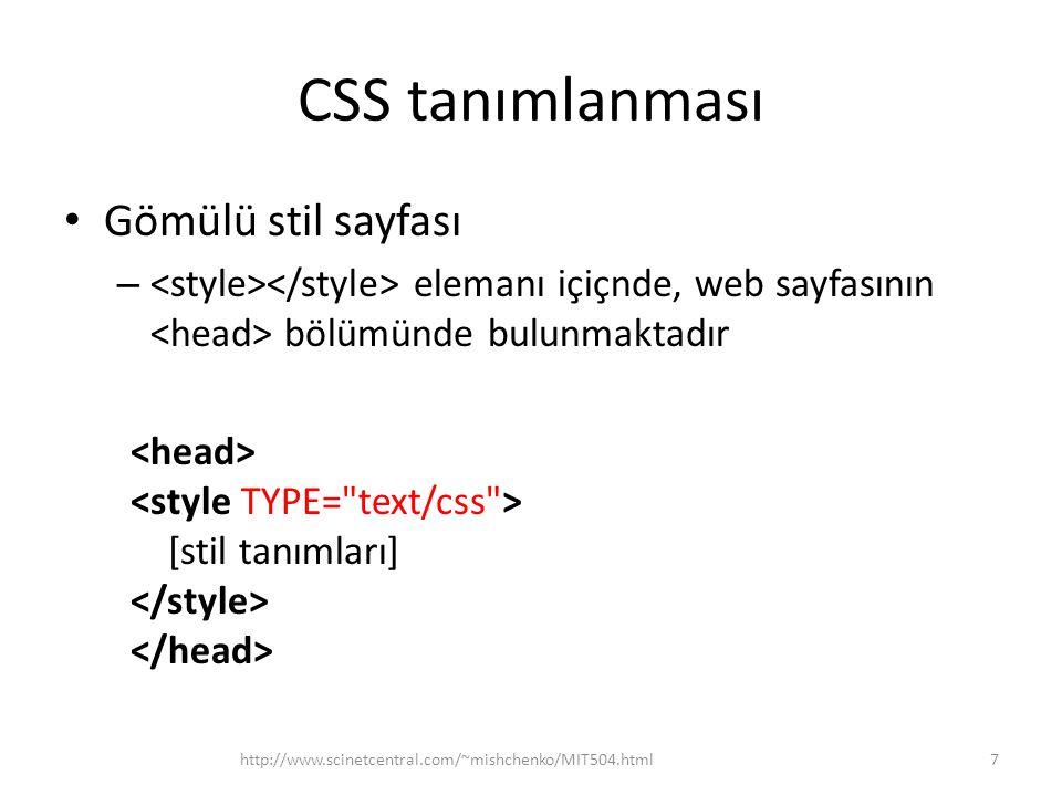 CSS tanımlanması Gömülü stil sayfası