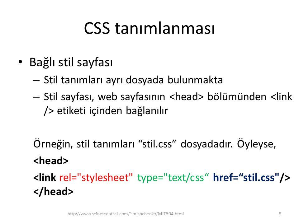 CSS tanımlanması Bağlı stil sayfası
