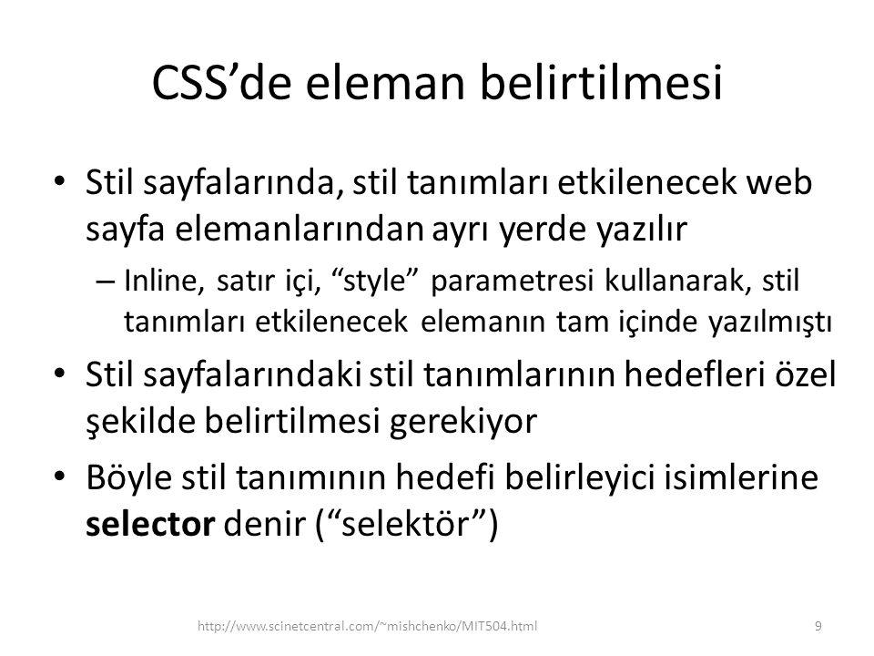 CSS'de eleman belirtilmesi