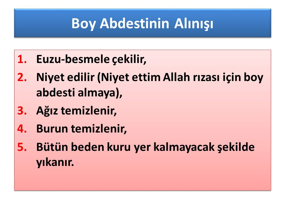 Boy Abdestinin Alınışı