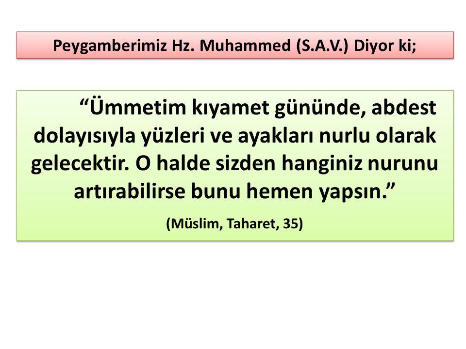 Peygamberimiz Hz. Muhammed (S.A.V.) Diyor ki;