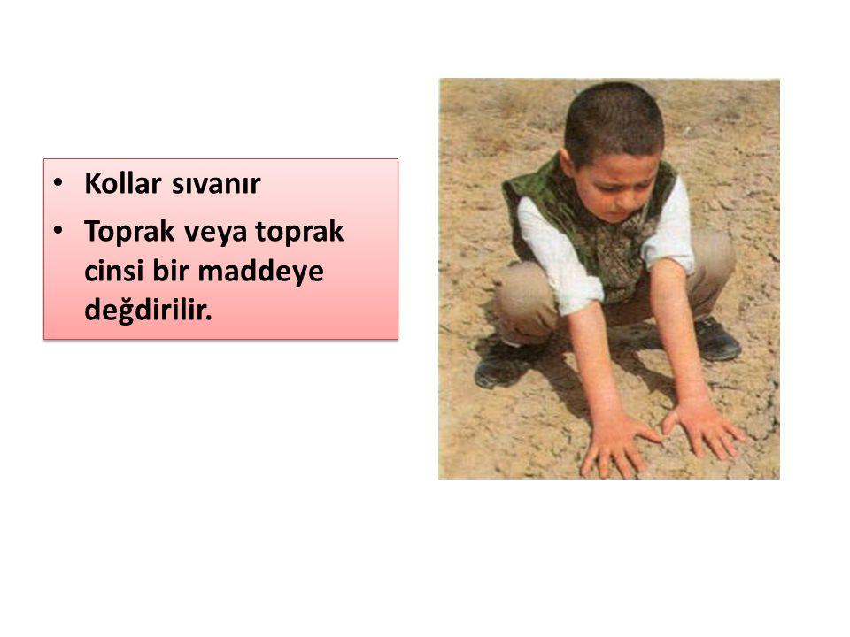 Kollar sıvanır Toprak veya toprak cinsi bir maddeye değdirilir.