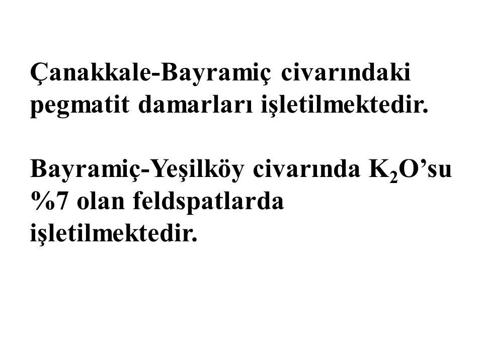Çanakkale-Bayramiç civarındaki pegmatit damarları işletilmektedir.