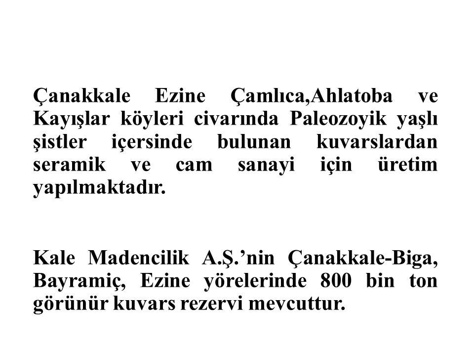 Çanakkale Ezine Çamlıca,Ahlatoba ve Kayışlar köyleri civarında Paleozoyik yaşlı şistler içersinde bulunan kuvarslardan seramik ve cam sanayi için üretim yapılmaktadır.