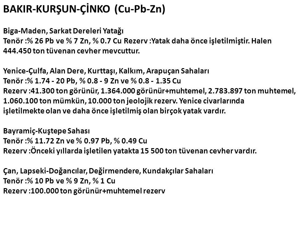 BAKIR-KURŞUN-ÇİNKO (Cu-Pb-Zn)