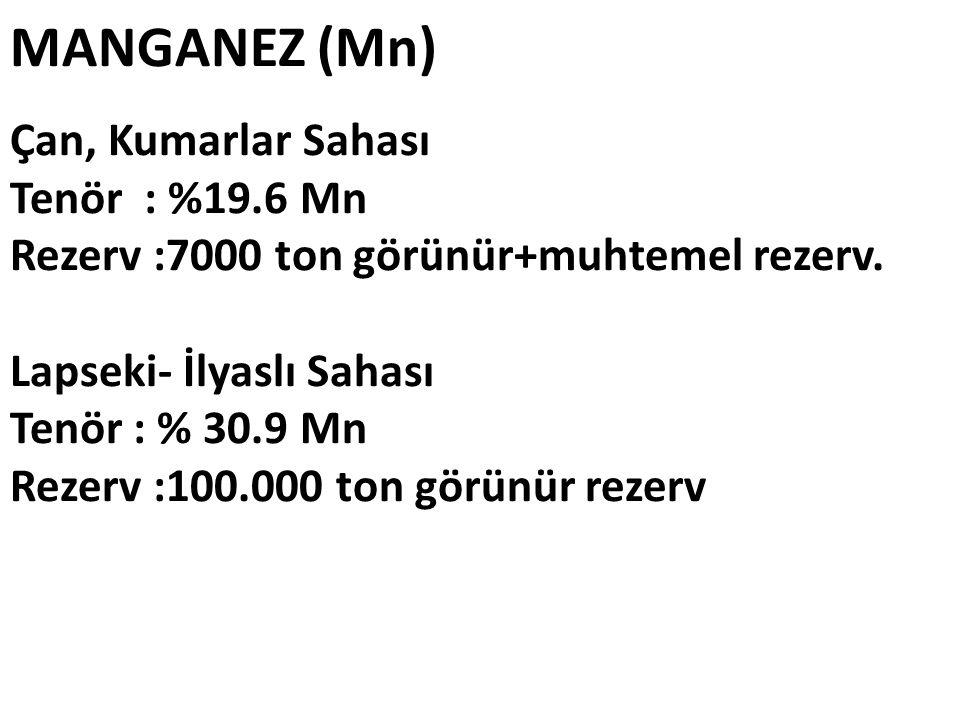 MANGANEZ (Mn) Çan, Kumarlar Sahası Tenör : %19.6 Mn