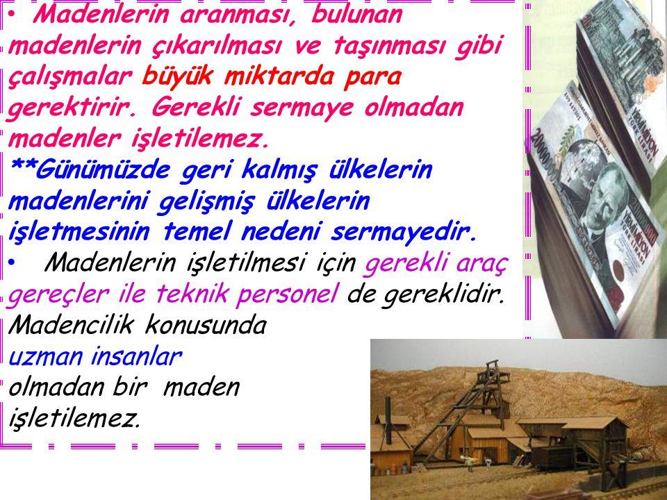 Madenlerin aranması, bulunan