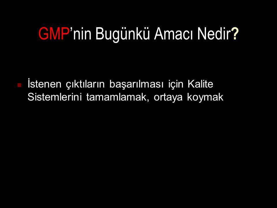 GMP'nin Bugünkü Amacı Nedir