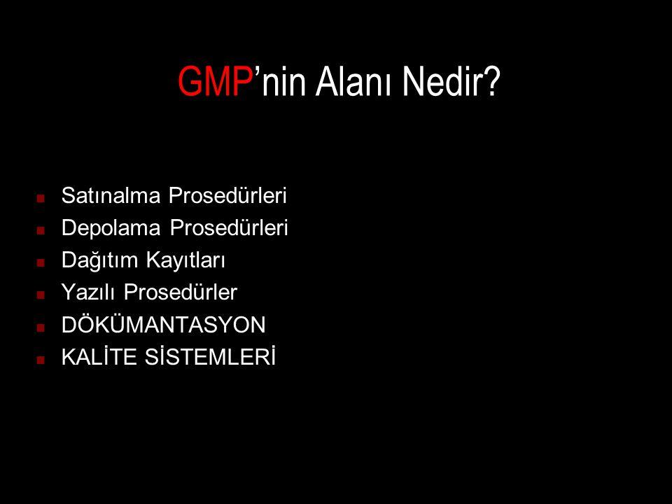 GMP'nin Alanı Nedir Satınalma Prosedürleri Depolama Prosedürleri