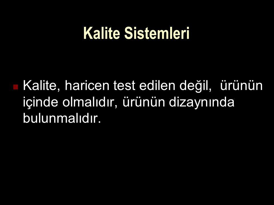 Kalite Sistemleri Kalite, haricen test edilen değil, ürünün içinde olmalıdır, ürünün dizaynında bulunmalıdır.