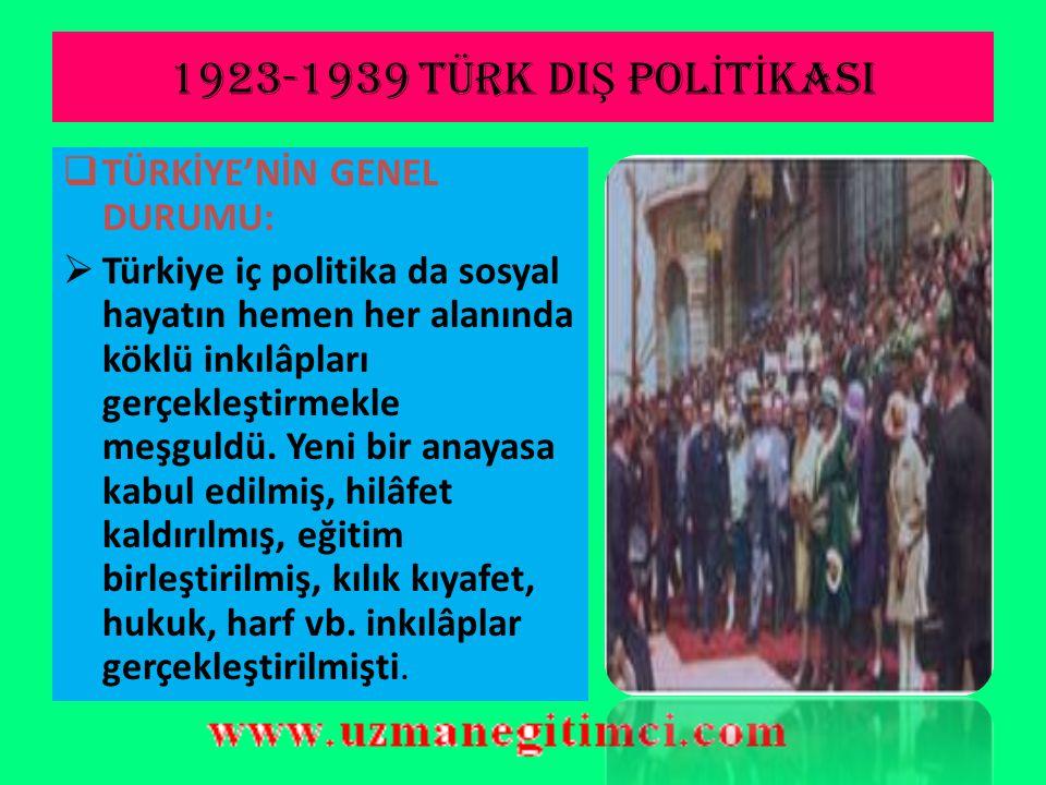 1923-1939 TÜRK DIŞ POLİTİKASI TÜRKİYE'NİN GENEL DURUMU: