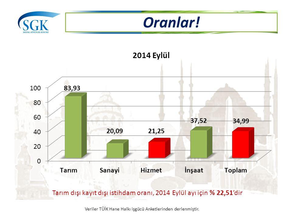 Tarım dışı kayıt dışı istihdam oranı, 2014 Eylül ayı için % 22,51'dir