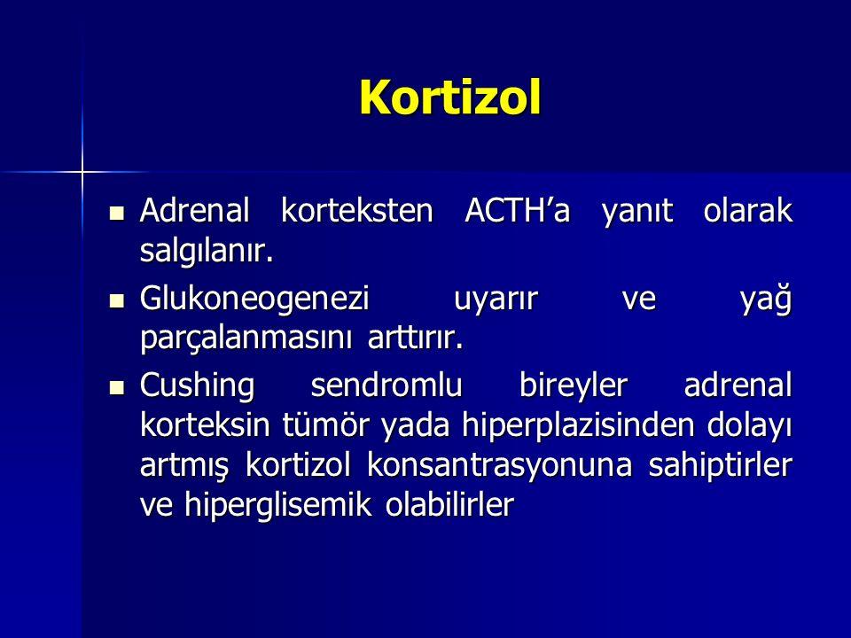 Kortizol Adrenal korteksten ACTH'a yanıt olarak salgılanır.
