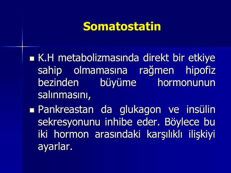 Somatostatin K.H metabolizmasında direkt bir etkiye sahip olmamasına rağmen hipofiz bezinden büyüme hormonunun salınmasını,