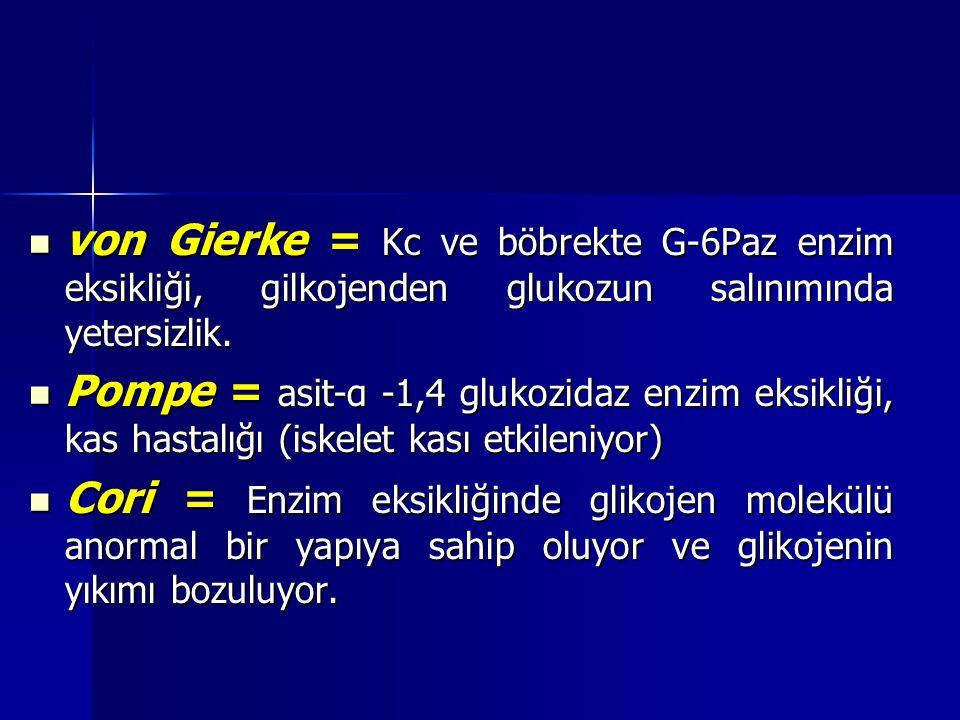 von Gierke = Kc ve böbrekte G-6Paz enzim eksikliği, gilkojenden glukozun salınımında yetersizlik.
