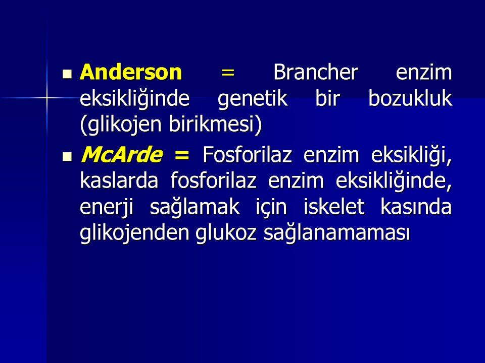 Anderson = Brancher enzim eksikliğinde genetik bir bozukluk (glikojen birikmesi)