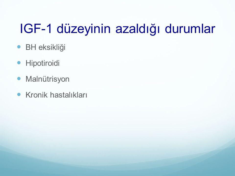 IGF-1 düzeyinin azaldığı durumlar