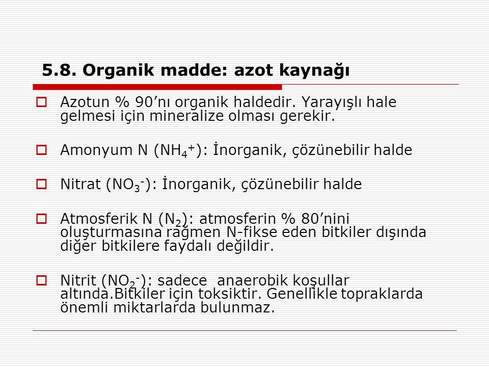 5.8. Organik madde: azot kaynağı