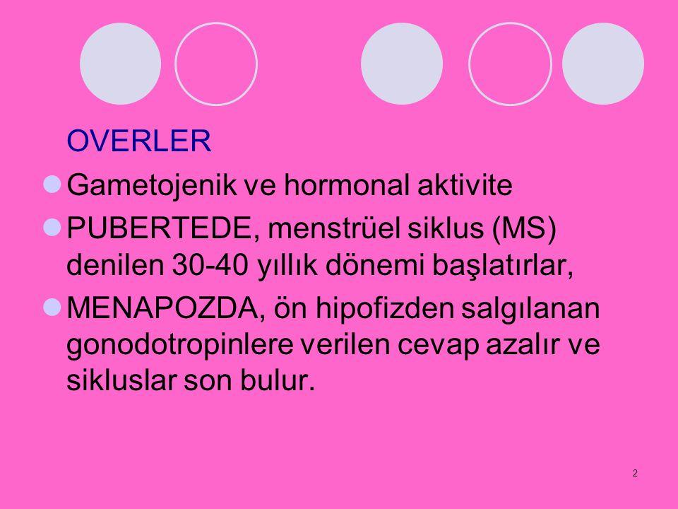 OVERLER Gametojenik ve hormonal aktivite. PUBERTEDE, menstrüel siklus (MS) denilen 30-40 yıllık dönemi başlatırlar,