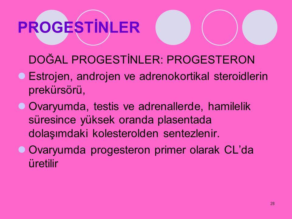 PROGESTİNLER DOĞAL PROGESTİNLER: PROGESTERON