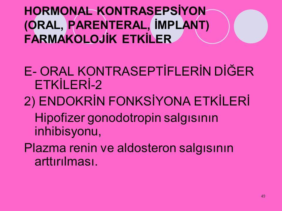 E- ORAL KONTRASEPTİFLERİN DİĞER ETKİLERİ-2