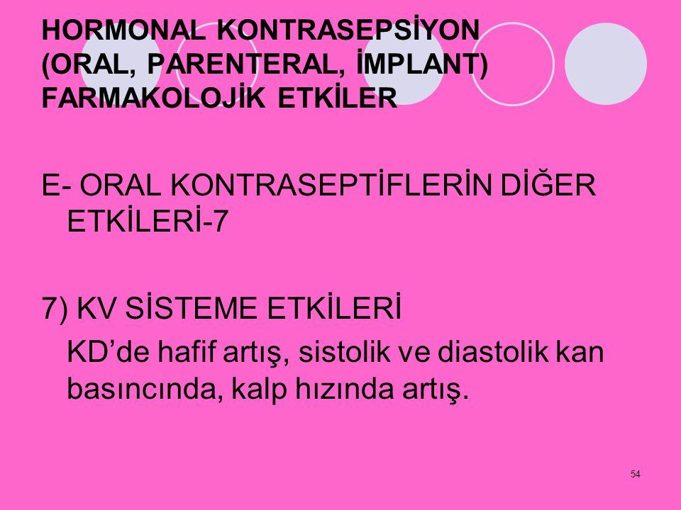 E- ORAL KONTRASEPTİFLERİN DİĞER ETKİLERİ-7