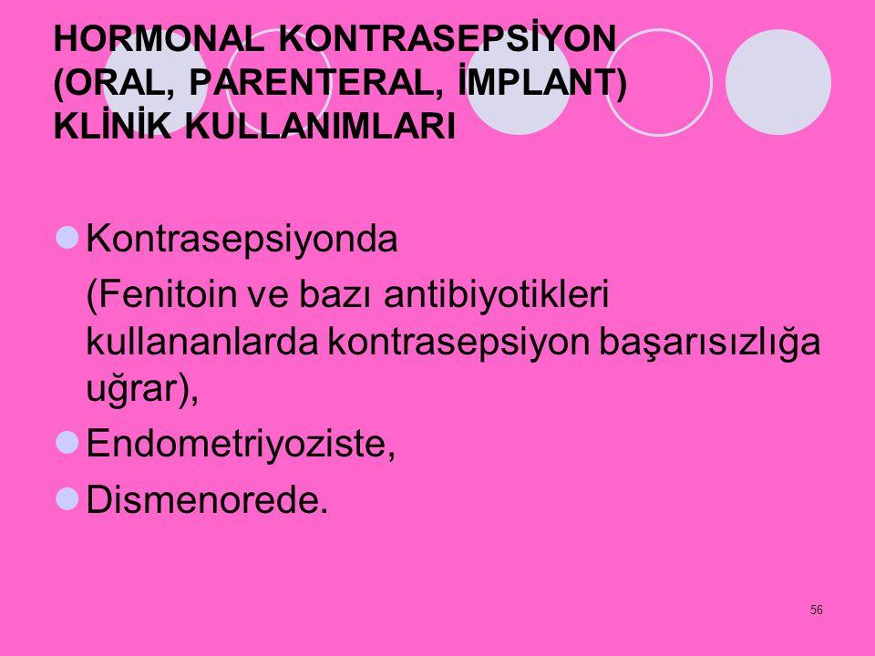 HORMONAL KONTRASEPSİYON (ORAL, PARENTERAL, İMPLANT) KLİNİK KULLANIMLARI