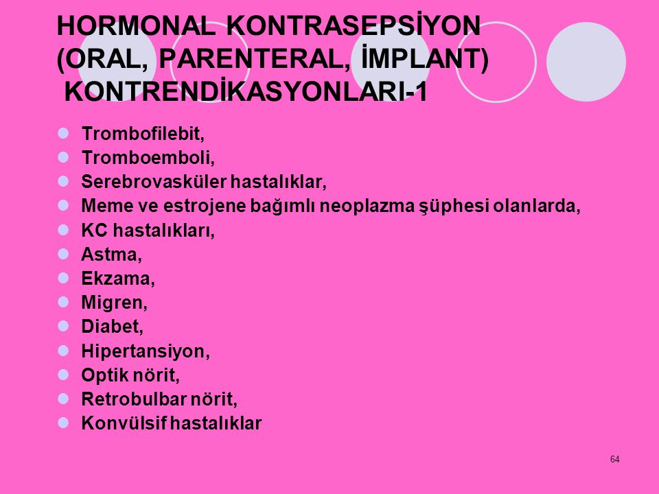 HORMONAL KONTRASEPSİYON (ORAL, PARENTERAL, İMPLANT) KONTRENDİKASYONLARI-1