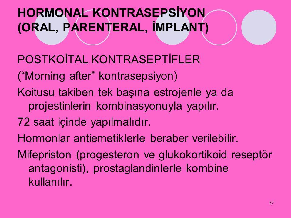 HORMONAL KONTRASEPSİYON (ORAL, PARENTERAL, İMPLANT)