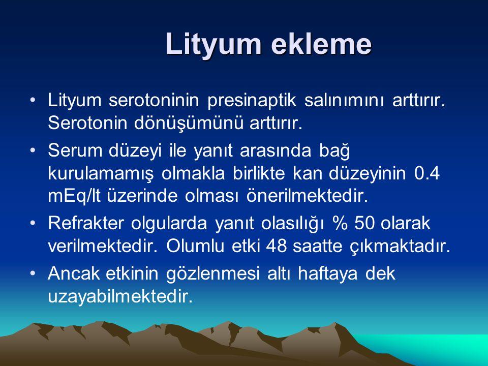 Lityum ekleme Lityum serotoninin presinaptik salınımını arttırır. Serotonin dönüşümünü arttırır.