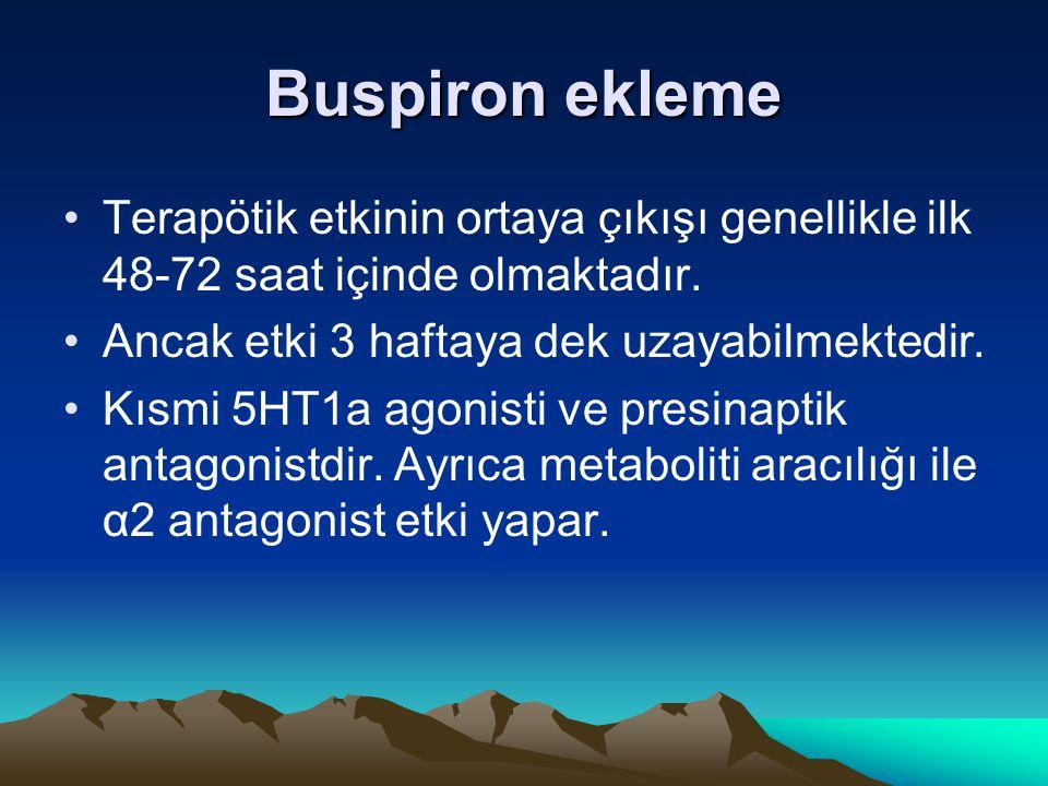 Buspiron ekleme Terapötik etkinin ortaya çıkışı genellikle ilk 48-72 saat içinde olmaktadır. Ancak etki 3 haftaya dek uzayabilmektedir.