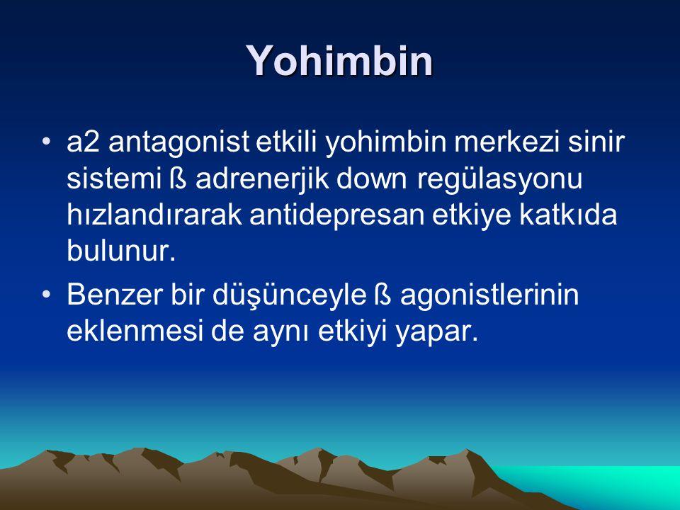 Yohimbin a2 antagonist etkili yohimbin merkezi sinir sistemi ß adrenerjik down regülasyonu hızlandırarak antidepresan etkiye katkıda bulunur.