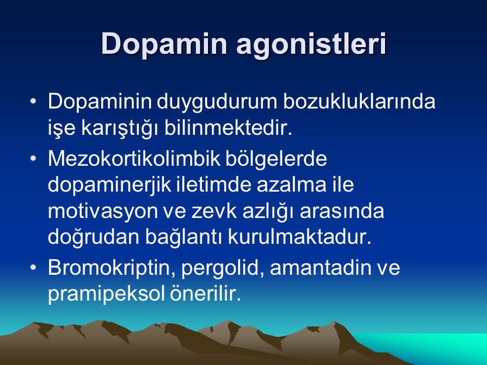 Dopamin agonistleri Dopaminin duygudurum bozukluklarında işe karıştığı bilinmektedir.