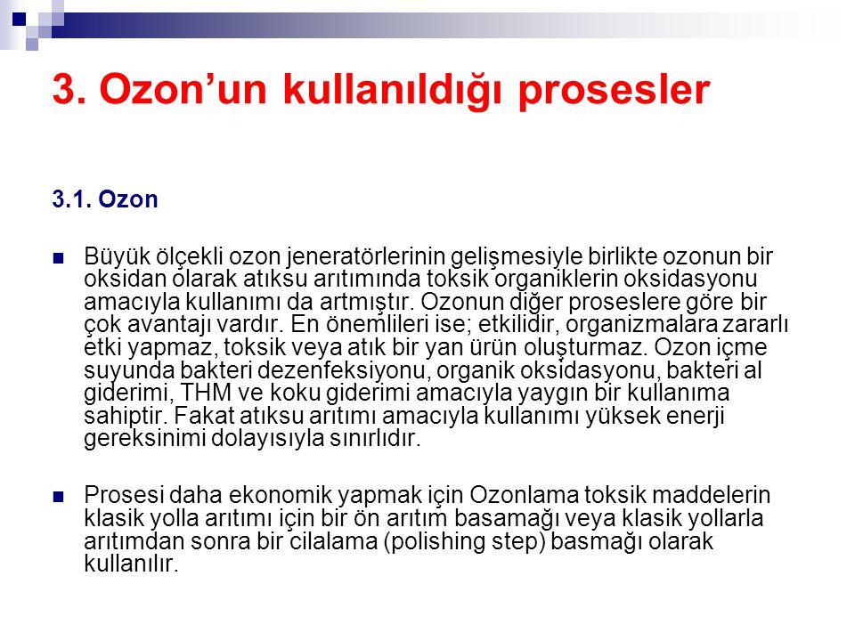 3. Ozon'un kullanıldığı prosesler