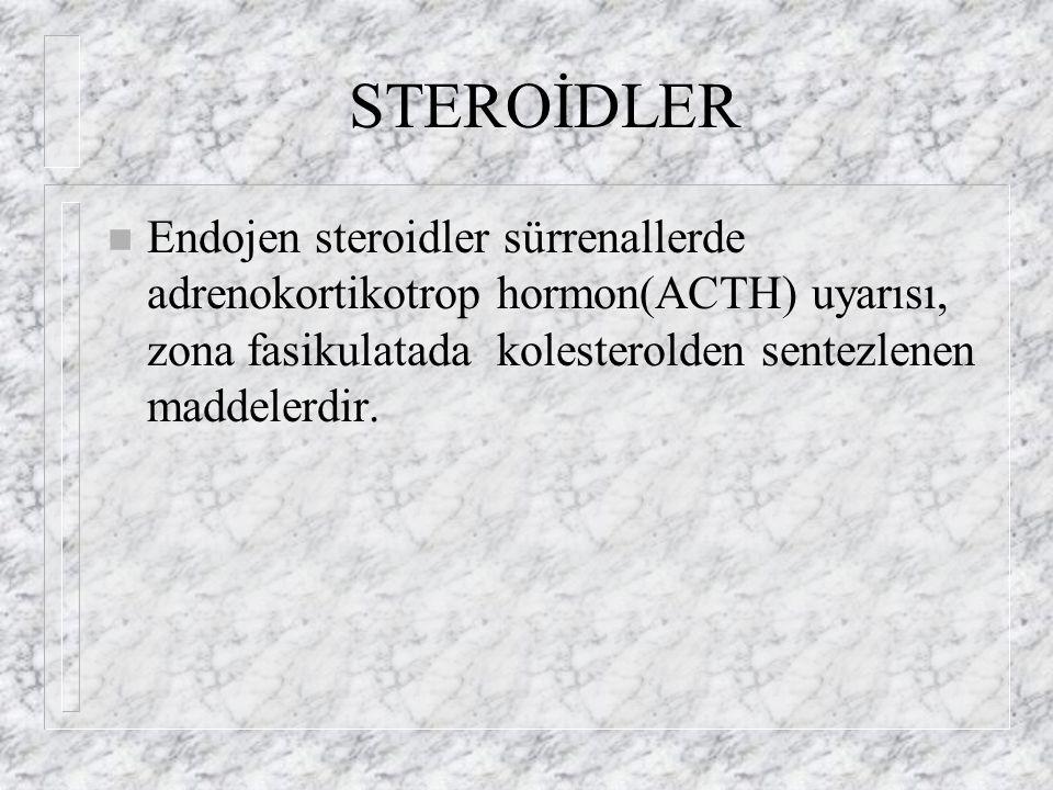 STEROİDLER Endojen steroidler sürrenallerde adrenokortikotrop hormon(ACTH) uyarısı, zona fasikulatada kolesterolden sentezlenen maddelerdir.