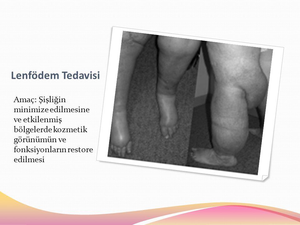Lenfödem Tedavisi Amaç: Şişliğin minimize edilmesine ve etkilenmiş bölgelerde kozmetik görünümün ve fonksiyonların restore edilmesi.