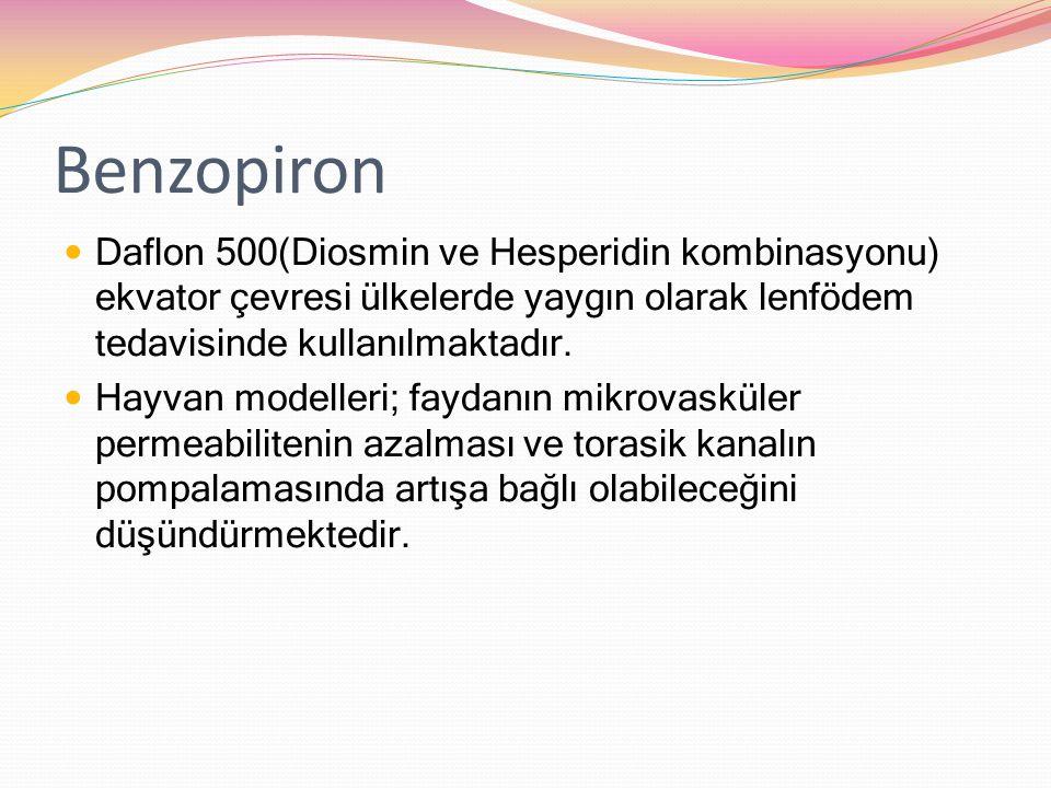 Benzopiron Daflon 500(Diosmin ve Hesperidin kombinasyonu) ekvator çevresi ülkelerde yaygın olarak lenfödem tedavisinde kullanılmaktadır.