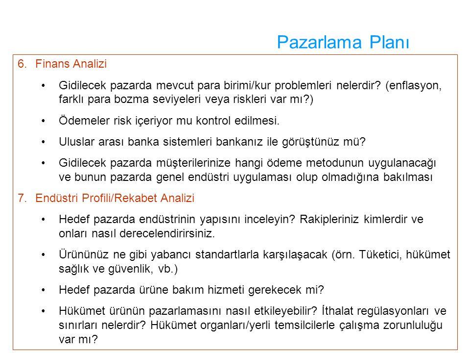 Pazarlama Planı 6. Finans Analizi