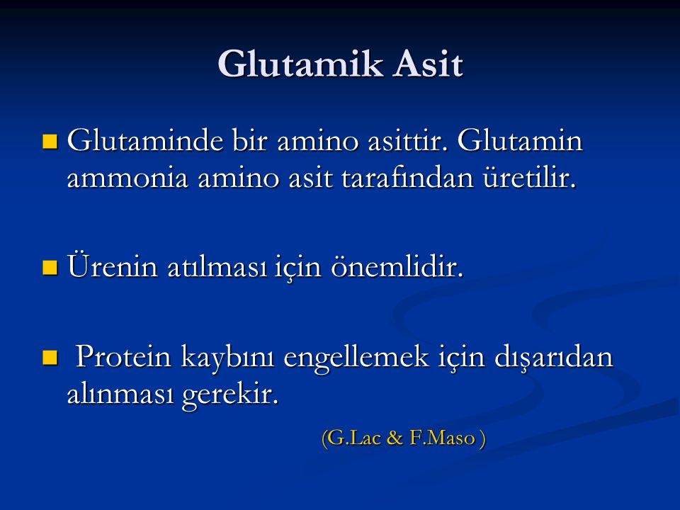 Glutamik Asit Glutaminde bir amino asittir. Glutamin ammonia amino asit tarafından üretilir. Ürenin atılması için önemlidir.