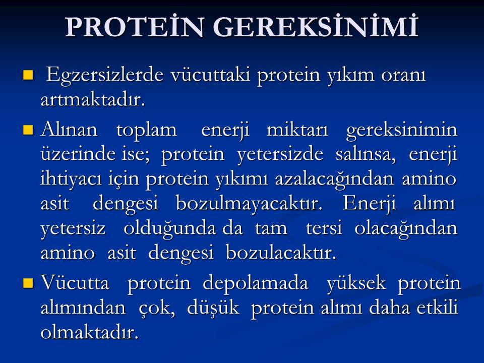 PROTEİN GEREKSİNİMİ Egzersizlerde vücuttaki protein yıkım oranı artmaktadır.
