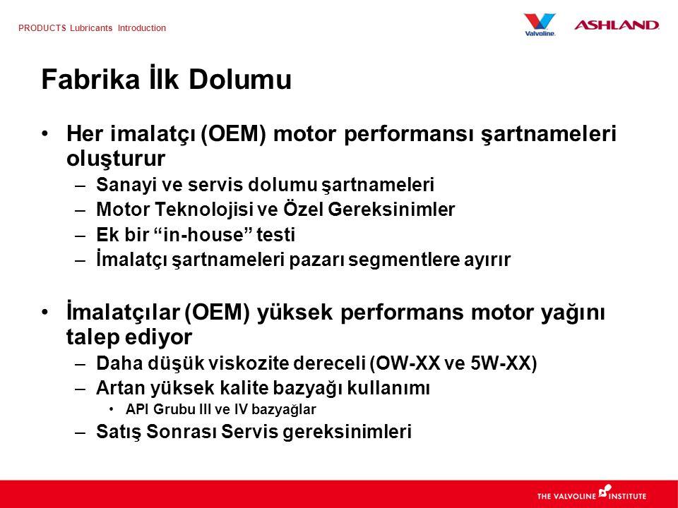 Fabrika İlk Dolumu Her imalatçı (OEM) motor performansı şartnameleri oluşturur. Sanayi ve servis dolumu şartnameleri.