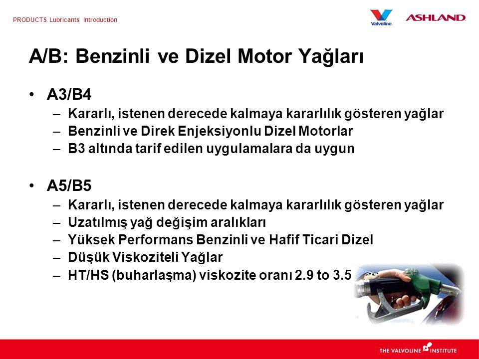 A/B: Benzinli ve Dizel Motor Yağları