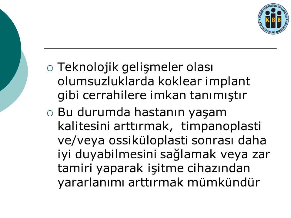 Teknolojik gelişmeler olası olumsuzluklarda koklear implant gibi cerrahilere imkan tanımıştır