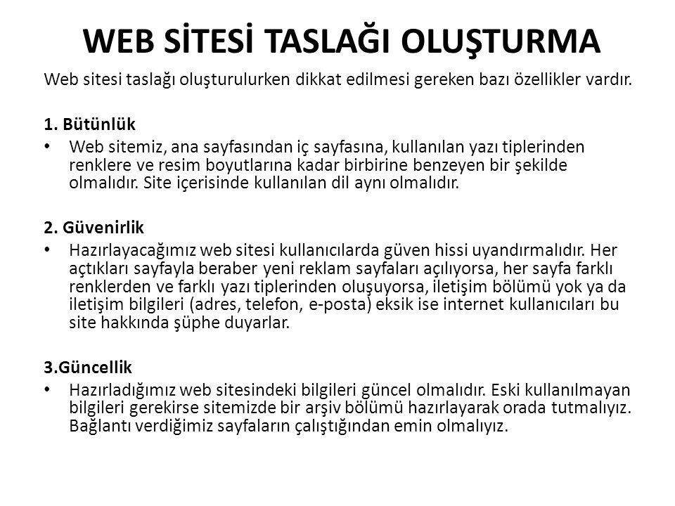 WEB SİTESİ TASLAĞI OLUŞTURMA