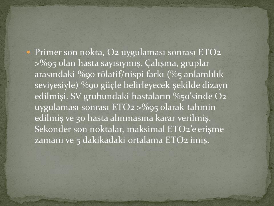 Primer son nokta, O2 uygulaması sonrası ETO2 >%95 olan hasta sayısıymış.