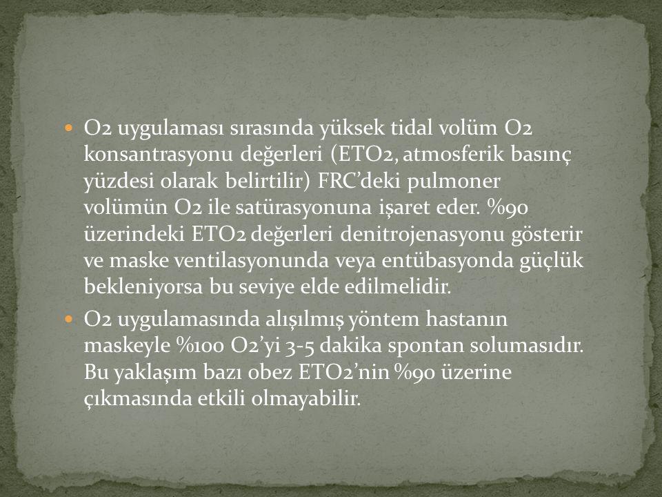 O2 uygulaması sırasında yüksek tidal volüm O2 konsantrasyonu değerleri (ETO2, atmosferik basınç yüzdesi olarak belirtilir) FRC'deki pulmoner volümün O2 ile satürasyonuna işaret eder. %90 üzerindeki ETO2 değerleri denitrojenasyonu gösterir ve maske ventilasyonunda veya entübasyonda güçlük bekleniyorsa bu seviye elde edilmelidir.